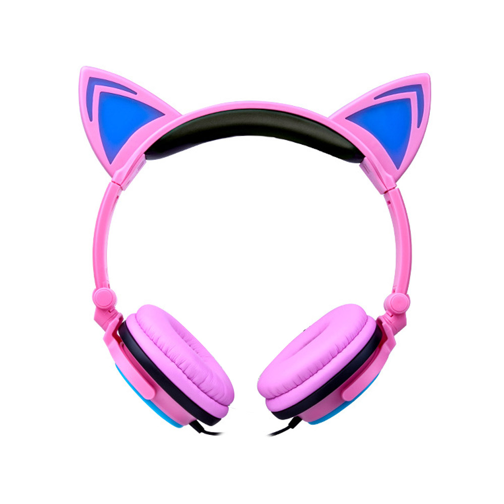 Gaming Headset Foldable Flashing Glowing cat ear headphones earphone LED light Earphones For PC Laptop Computer mobile Phone