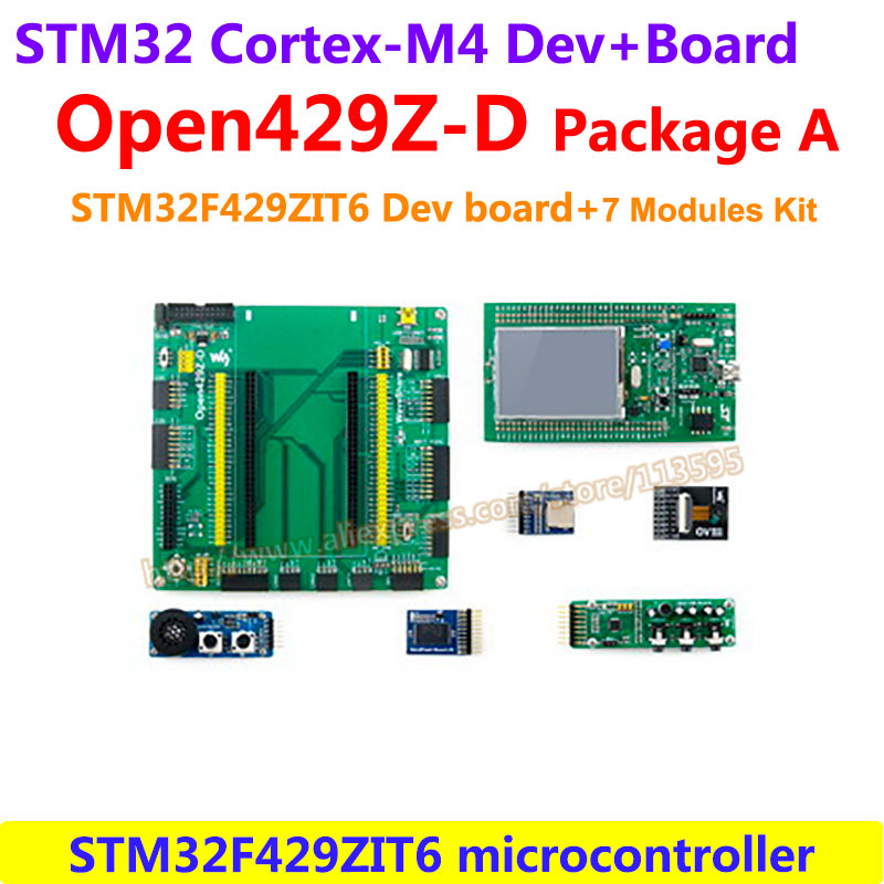 STM32 Board STM32 Discovery Kit 32F429IDISCOVERY(2MB Flash)+Mother Board+7 Modules STM32F429I STM32 Cortex-M4 Development Board stm32f051c8t6 stm32 development board learning board core board 2 2 lcd 7 modules