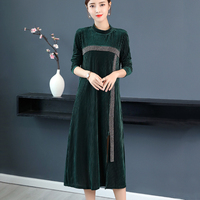 2019 autumn velvet dress women winter long sleeve warm corduroy dresses female plus size stripes patchwork split long vestidos