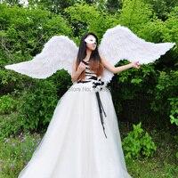 Performance props carnival ruslana korshunova wings near 2 meters large wings white black purple grey Angel Feather wings