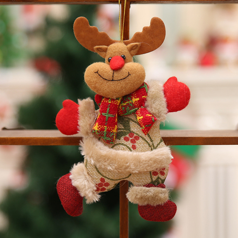 2018 Merry christmas ornaments christmas Gift Santa Claus Snowman Tree Toy Doll Hang Decorations for home Enfeites De Natal fkk2 1