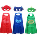 pjmasks 2017 New 2pcs/set PJ Masks Role-play cloak Cape and Mask Owlette Catboy Gecko Cosplay Action Toys For Children