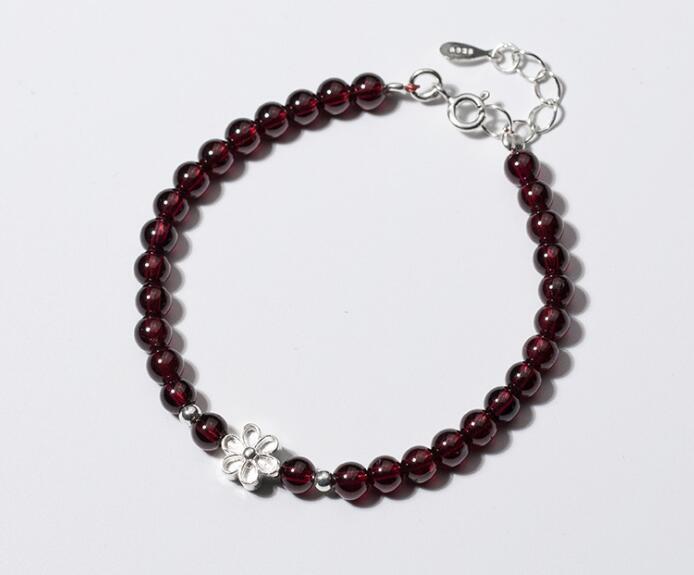 100% Real. 925 Sterling Silber Schmuck Perlen & Natürliche Rote Granat Stein Kette Armband Mit Blume Charme Einstellbare Gtls534