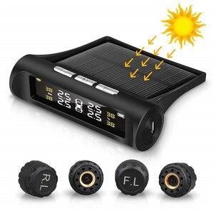 Image 1 - Solar Car Tire Pressure Monitoring System TPMS Auto 4 Sensor Tyre Pressure Alarm Guage Tester