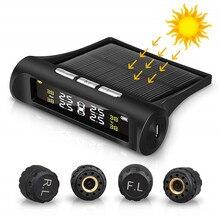 ソーラー車のタイヤ空気圧監視システムtpms自動4センサータイヤ空気圧警報ゲージテスター