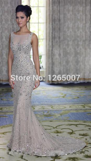 637ce3f02e Moda cuello barco Nude diamante plateado con cuentas Formal elegante largo  brillante vestidos noche 2015 Glitter