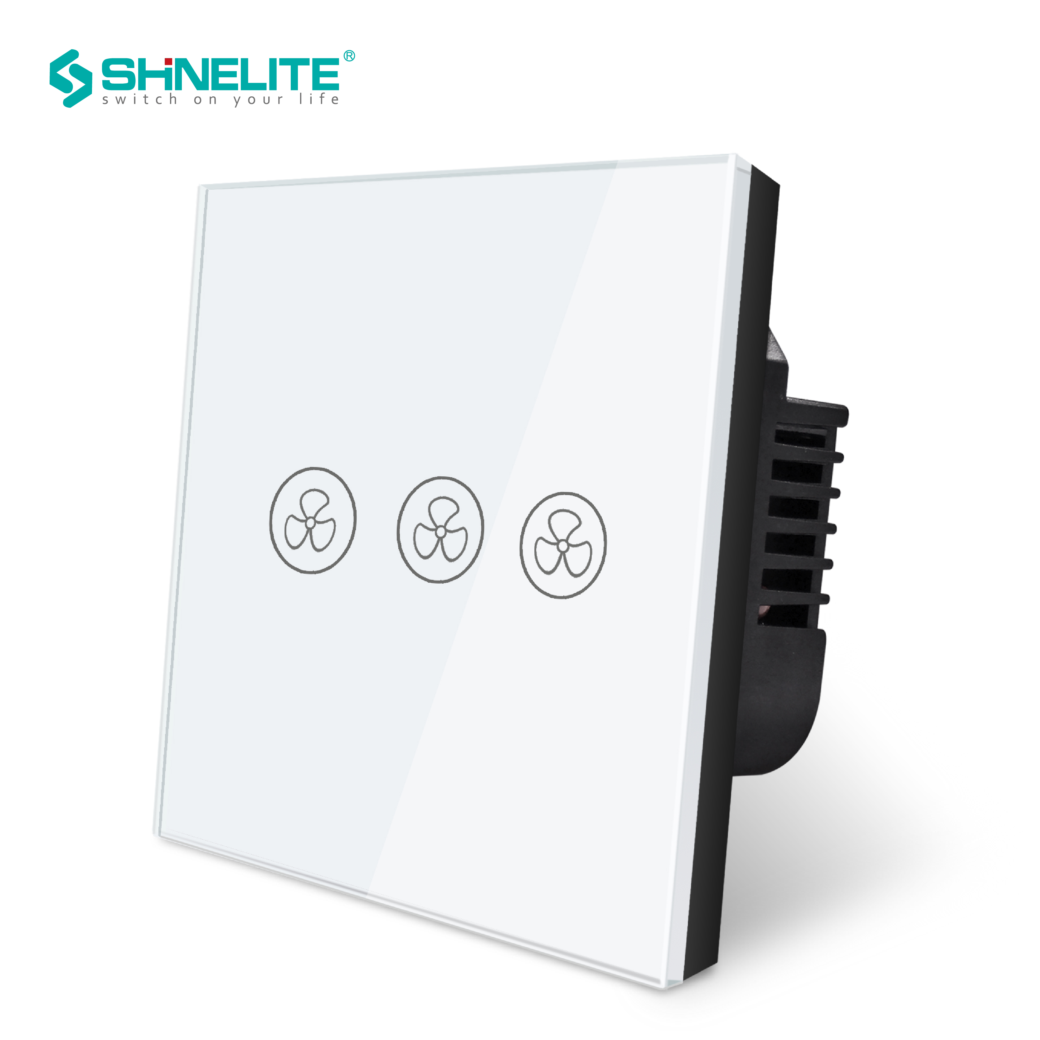 SHINELITE EU/UK Touch Screen Fan Switch,Speed Regulation,Crystal Glass Panel Fan Switch , AC 110~240V Home Wall Switch luxury uk standard wireless remote control for ceiling fan crystal glass panel 600w fan speed regulation wall touch switch