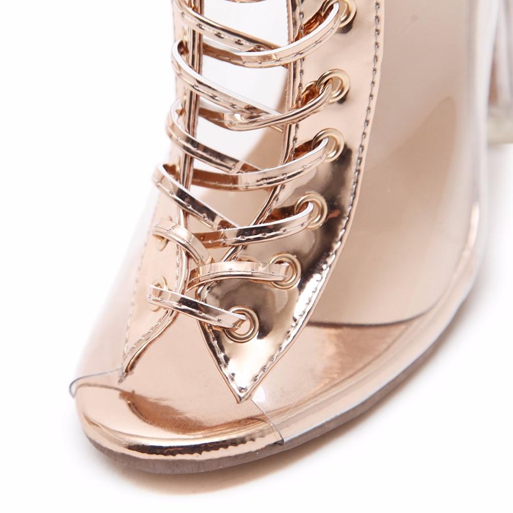 Sexy Women Summer Stilletos Sequined Shoes Transparent Sandals