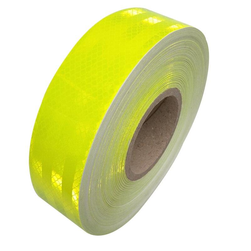 5 см * 45 м светоотражающие ленты безопасности Предупреждение знак тела наклейки PET флуоресцентные зеленые решетки полоски клей носить- неско...