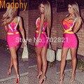 Женщины сексуальные подтяжки платье повязки эластичные один кусок спагетти ремень знаменитости пром фиолетовый оранжевый красный синий корабль падения HL8675-1