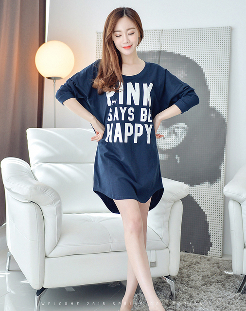 3b39190fb92 New Spring Long Nightgown Women Long Sleeved O-Neck Casual Indoor Clothing  Dress 100%