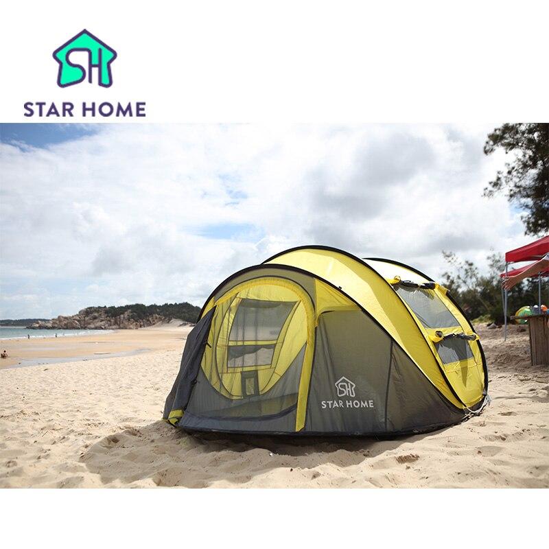 Star home Large throw tent!outdoor 3-4persons automatic speed open throwing pop up  waterproof beach camping tent 2 second open kemar люстра kemar kwinero krem 5хe14х60 вт стекло металл белый золото kxaz64r