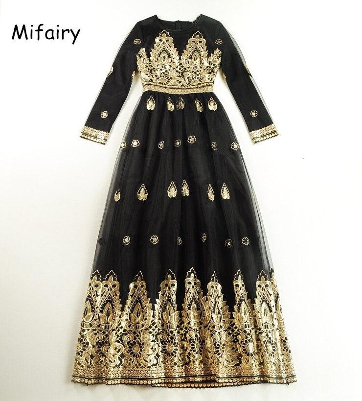 Luxueux noir maille étage longueur femmes robe avec or broderie paillettes haut De gamme robe De piste Vestidos De Festa 121316