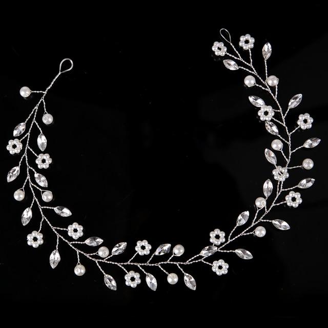Fashion Silver Hair Jewelry Simulated Pearl Rhinestone Headband Bridal tiaras Hairbands Headpiece Wedding Women Hair Accessories