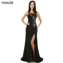 Black Mother Of The Bride Dresses 2018 Mermaid Side Slit Beaded Chiffon Long Evening Dress For