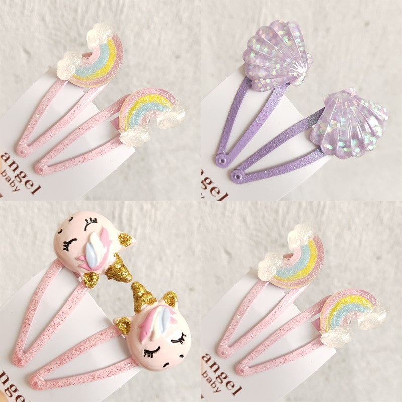 2PCS New Cartoon Cute Rainbow Shell BB Clips Girls Hair Accessories Kids Hairpins Children   Headwear   Baby Hair Clips Headdress