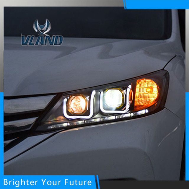 VLAND Head Lamp For Honda Accord LED Headlights 2013 2016 U Shaped LED  Composite Headlight