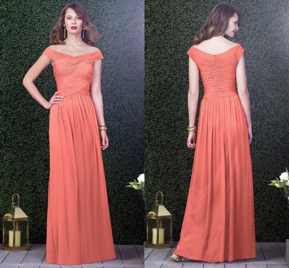 WB8043 Ruffled Off the Shoulder Coral Colored Bridesmaid Dresses for ...