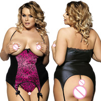 Xxxl 5xl Garter Belt Hollow Women Sexy Lingerie Hot Plus Size Sexy Underwear Exposed Chest Babydoll