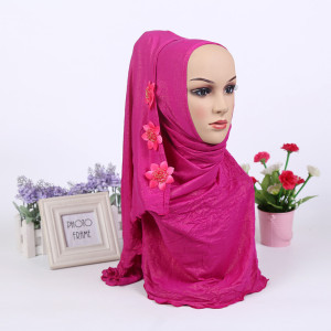 Image 5 - Fashion One Piece Muslim Shimmer Flower HIJAB One Round Instant HAT (new colors stock now.notice flower pattern random)