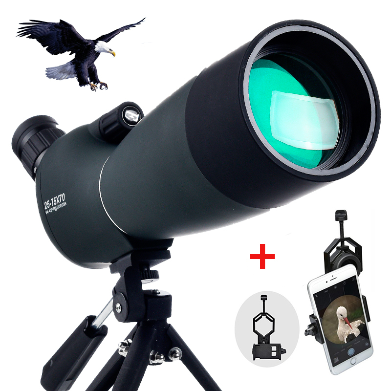 Objective lens 60 70mm Spotting scope Zoom Monocular Telescope for Birdwatching Hunting with free Universal phone