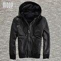 Black genuine leather jackets and coats men real leather 100% lambskin hooded motorcycle jacket coat veste cuir homme LT985