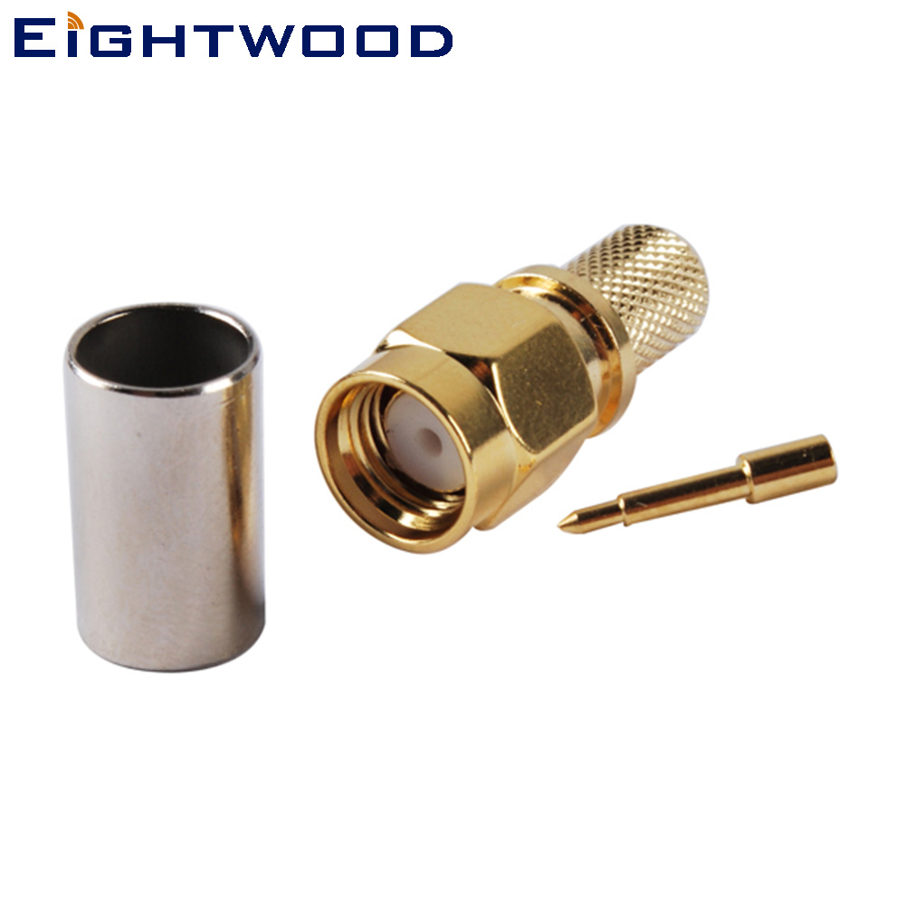 Eightwood 10PCS SMA Plug Male RF Coax Connector Adapter Straight Attachment Crimp LMR240 Cable For Base Station Antenna Telecom