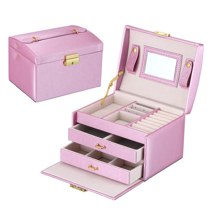 17.5*14*13cm Brand Jewelry Box Portable Travel Organizer Jewelry with Mirror Leather Jewelry Storage Case Jewelry Display Box