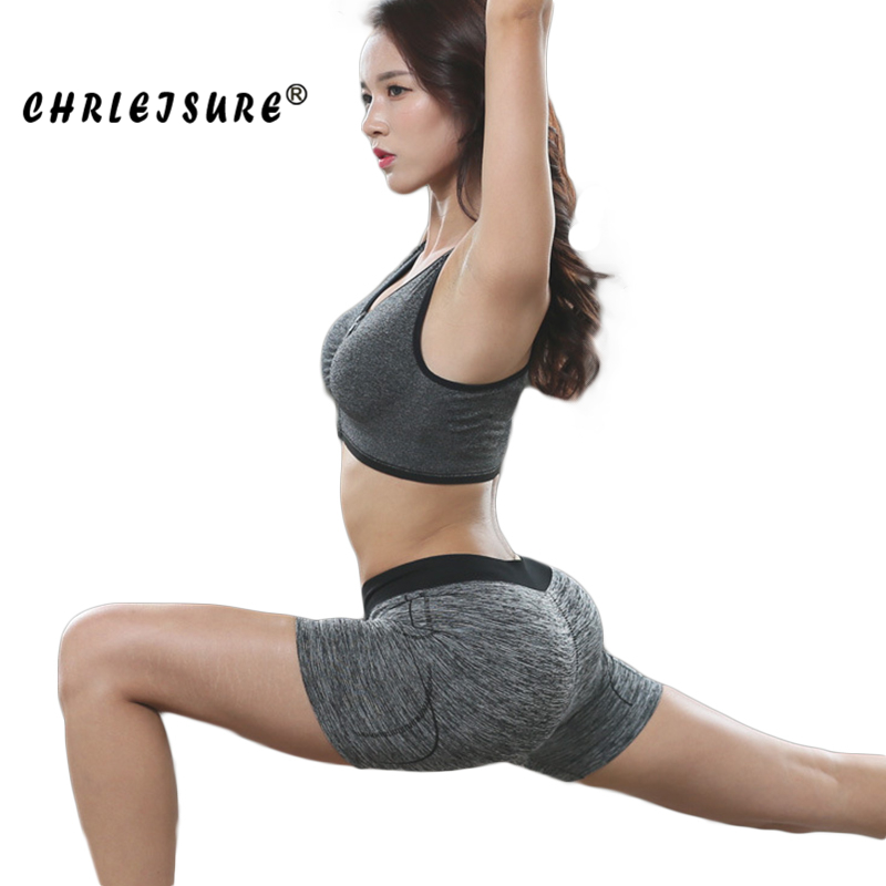 CHRLEISURE Push Up   Shorts   Women Spring And Summer Nylon Solid High Waist Stitching Quick dry Workout Female   Shorts