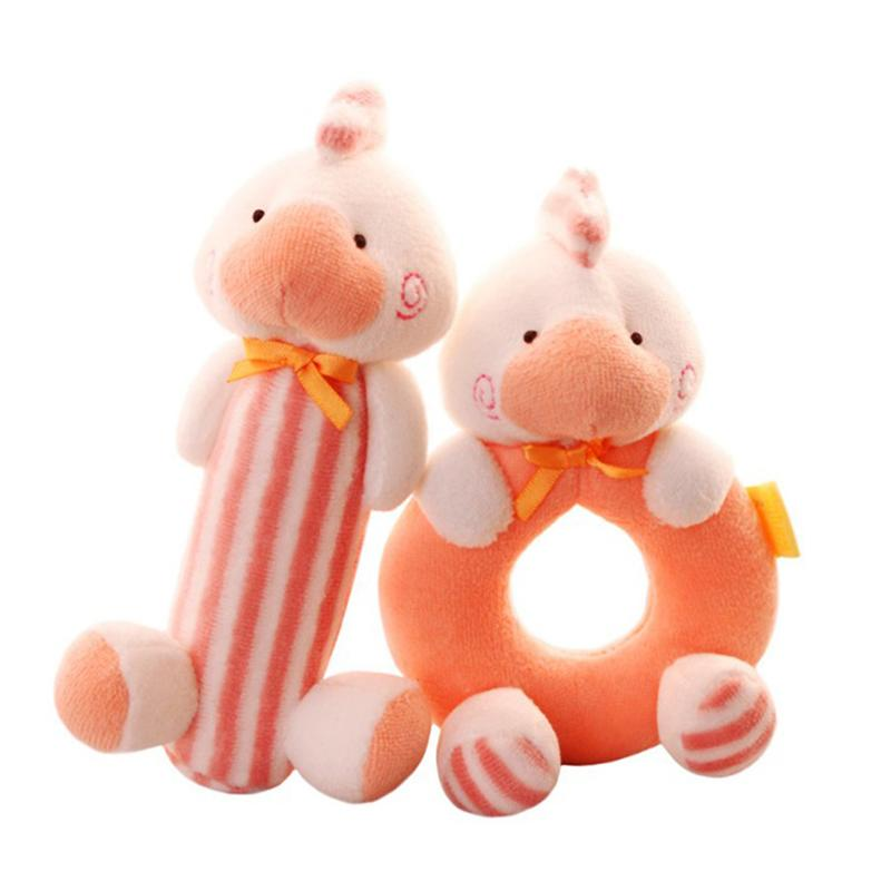 2 Pcs Soft And Cute Plush Rattle Baby Toys Animal Hand Ring Bell Baby Toy Newborn Gifts for 0-2 Years Kids Children