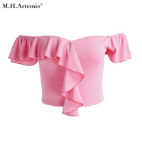M H Artemis Sexy Slash Neck Ruffle Pink Crop Top Tees Bustier Chic Summer Style Cute