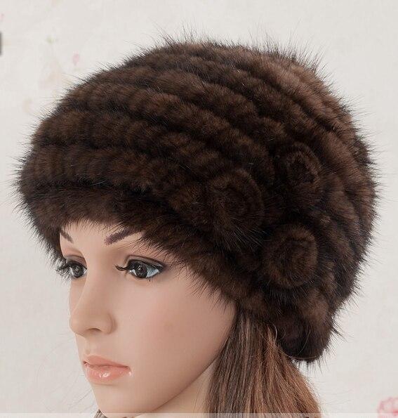 100% Taken in kind Winter Woven Dome Mink Fur Warm Womens cap New Year Gift Ladies hats