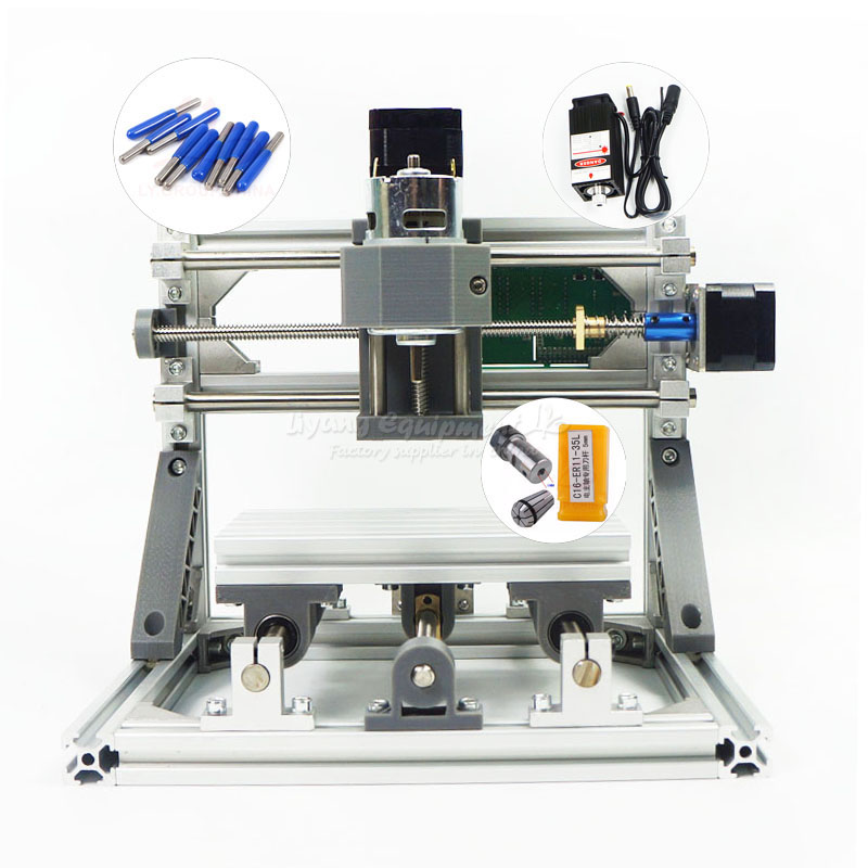 No tax to Russia Disassembled pack mini CNC 1610 PRO + 500mw laser CNC engraving Pcb Milling Machine mini cnc router L10002