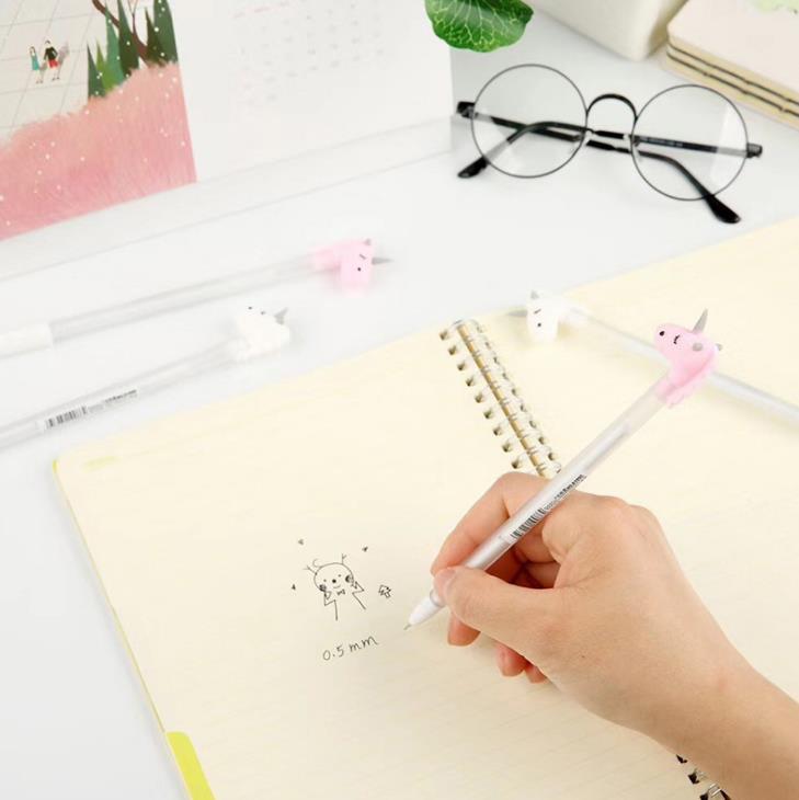 4 Pcs hot Gel Pens Cartoon horse black colored gel-inkpens for writing Cute stationery office school supplies