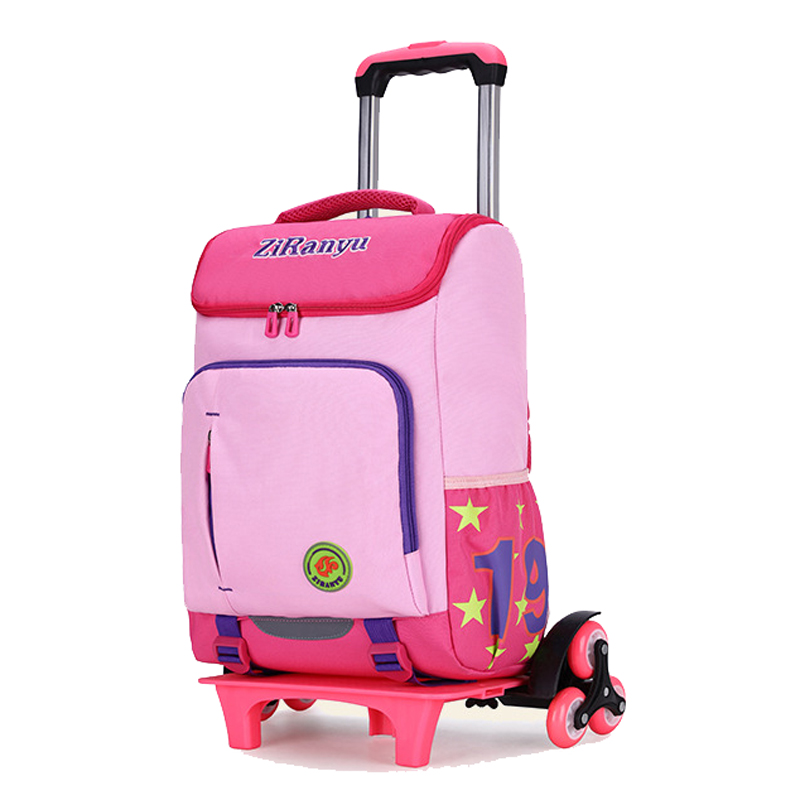 ZIRANYU Kids boys girls Trolley Schoolbag Luggage Book Bags Backpack Latest Removable Children School Bags 2