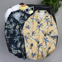 2018 New Arrival Men Fashion Summer Leaves Flower Pineapple Print Loose Cotton ShortSleeve Shirt Male Hawaiian