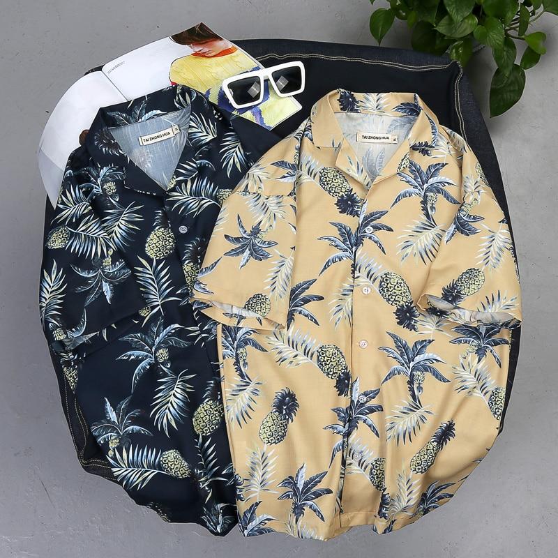 2019 New Arrival Men Fashion Brand Summer Leaves Flower Pineapple Print Loose Short Sleeve Shirt Male Hawaiian Style Beach Shirt