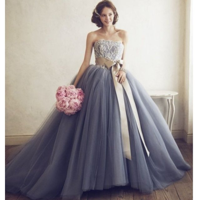 2017 Fashion Gray With Gold Ribbon Ball Gown Wedding Gowns Cheap ...