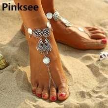 Женские сандалии босиком в стиле ретро пляжный браслет на ногу