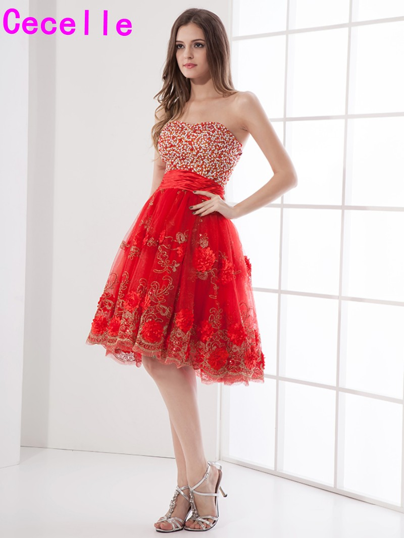 Red Short A-line   Cocktail     Dresses   2019 Sweetheart Sparkly Beaded Flowers Lace Knee Length Teens Informal   Cocktail   Party   Dress