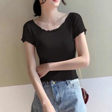 Women Fashion Ruffles O Neck Short Sleeve T Shirt Female Sexy Slim  Knitted Crop Top Korean Solid Casual Summer T-Shirt