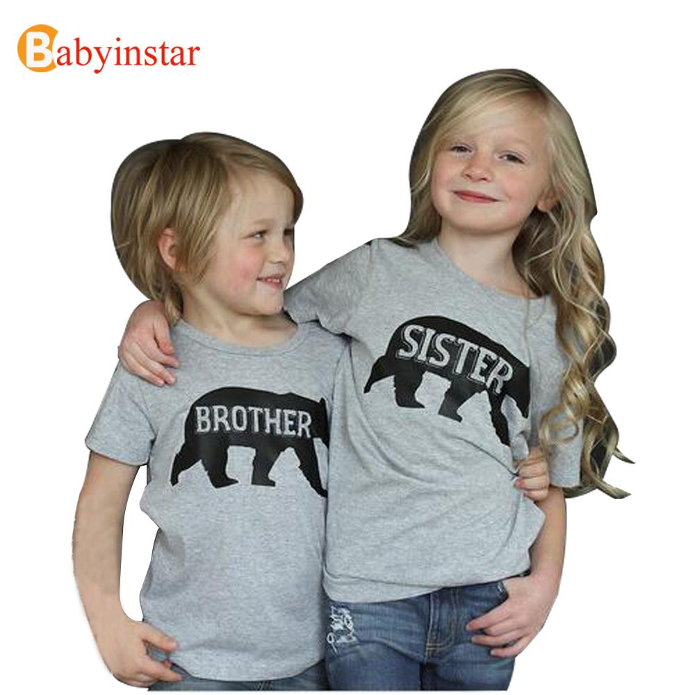 Family Matching Outfits Brother Sister Clothes Casual Family t shirt Summer Short Sleeve Boys Girls Top Tees 2016 Family Look monochrome