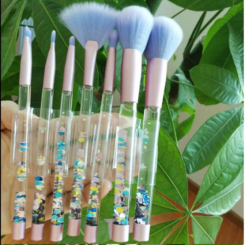 7Pcs Beauty Liquid Quicksand Makeup Brushes Unique Handle Large Fan Brush Powder Blush Eyeshadow Eyebrow Lip Brush Make Up Tools