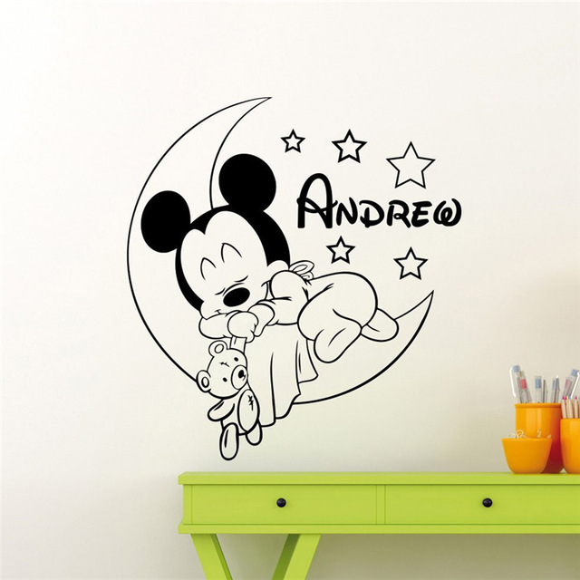 personalized custom mickey mouse wall decal nursery custom baby name cartoon home decor kids. Black Bedroom Furniture Sets. Home Design Ideas