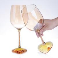 Europe Heart shaped Crystal Diamond wine glass Luxury Goblet champagne glasses Transparent wine glasses home decor Wedding gift