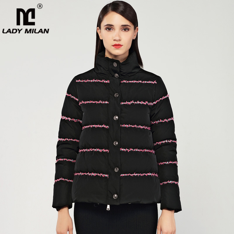 New Arrival Women's Stand Collar Long Sleeves Striped Patchwork Color Block Fashion White Duck   Down     Coats   Short Parkas