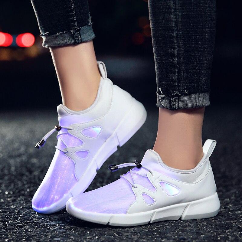 KRIATIV 7 Colors Fiber Optic Luminous Sneakers LED Light Up Shoes Kids Boy Girls Shoes for Children USB Recharging Slippers