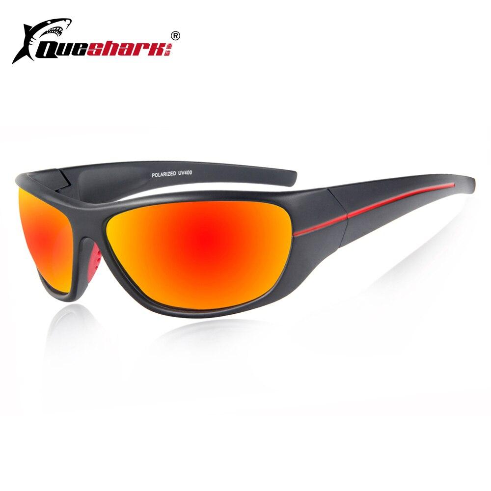 QUESHARK Hommes Polarisées De Pêche lunettes de Soleil Noir Protection Uv Camping Randonnée Lunettes Rouge Lentille Sport Lunettes Vélo Lunettes