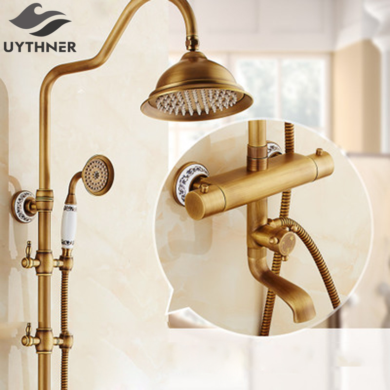 Uythner Modern 8 Antique Brass Rainfall Shower Thremostatic Bathtub Faucet Wall Mounted Mixer Tap free shipping polished chrome finish new wall mounted waterfall bathroom bathtub handheld shower tap mixer faucet yt 5333