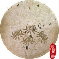 ベージュ色伝統油紙傘四花紙日傘コスプレレトロアート紙傘装飾ぶら下